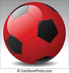 vermelho, bola futebol, vetorial