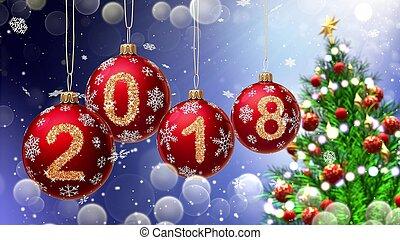 vermelho, bolas, com, números, 2018, pendurar, a, fundo, de, um, azul, bokeh, e, um, girar, árvore natal