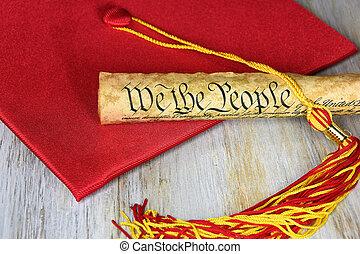 vermelho, boné graduação, com, documento