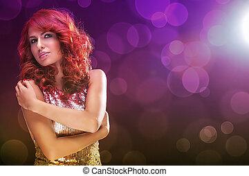 vermelho, bonito, cabelo, mulher