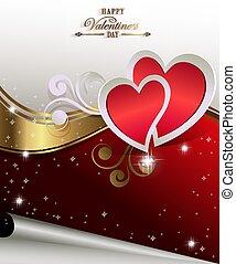 vermelho, branca, desenho, com, corações