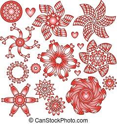 vermelho branco, ornamentos, com, corações