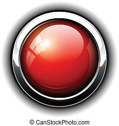 vermelho, brilhante, botão