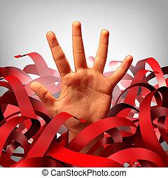vermelho, burocrático, problema, fita