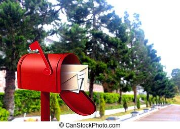 vermelho, caixa postal, ligado, passagem
