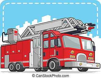 vermelho, caminhão bombeiros, ou, despeça motor