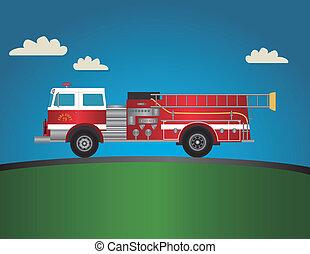 vermelho, caminhão bombeiros