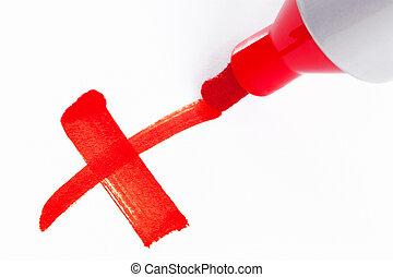 vermelho, caneta marcador, x