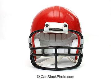 vermelho, capacete futebol americano, isola