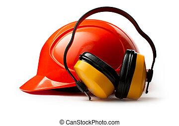 vermelho, capacete segurança, com, fones ouvido
