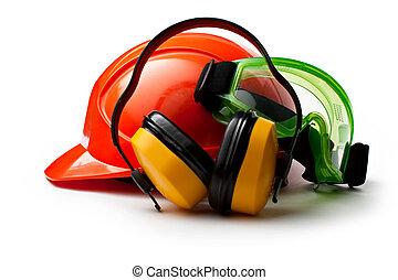 vermelho, capacete segurança, com, fones ouvido, e, óculos...