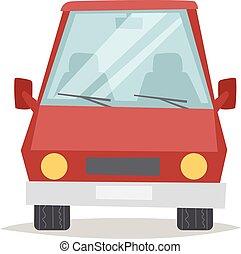 vermelho, caricatura, car, vista dianteira, desenho, apartamento, vetorial, ilustração