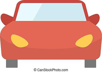 vermelho, caricatura, car, vista dianteira