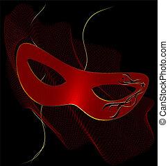 vermelho, carnaval, half-mask, e, véu