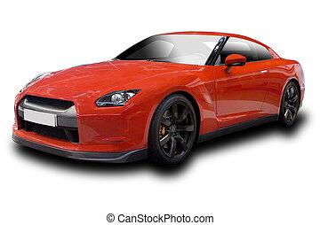 vermelho, carro esportes