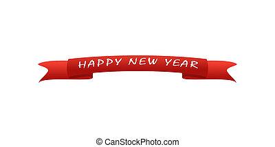 vermelho, cartão cumprimento, com, a, inscrição, ano novo, fundo branco