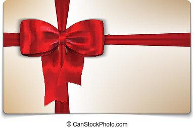 vermelho, cartão presente, arco