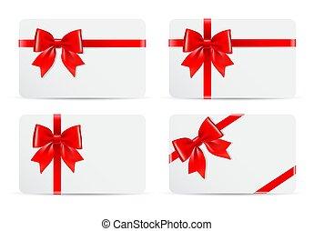 vermelho, cartões, jogo, arco presente