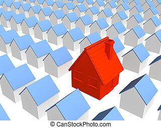 vermelho, casa, com, fila, idêntico, casas
