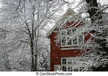 vermelho, casa, em, neve