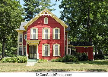vermelho, casa fazenda