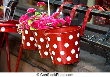 vermelho, cestas, com, branca, pontos
