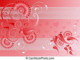 vermelho, cetim, fundo, com, a, decoração