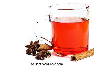 vermelho, chá, em, um, vidro, algum, varas canela, e, anis estrela, branco, fundo