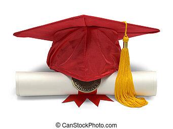 vermelho, chapéu grad, e, diploma