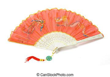 vermelho, chinês, tradicional, dobrando, ventilador