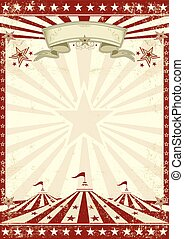 vermelho, circo, grunge, cartaz