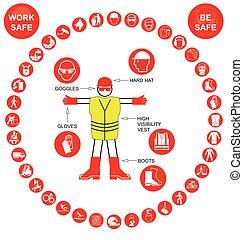 vermelho, circular, saúde segurança, ícone