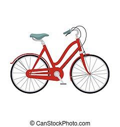 vermelho, clássicas, bicicleta