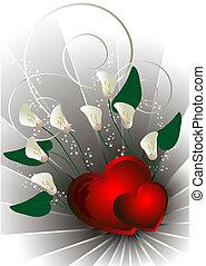 vermelho, corações, com, flores brancas, calla