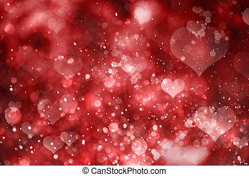 vermelho, corações, experiência., valentine, dia