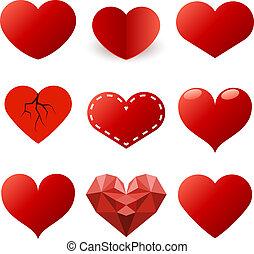 vermelho, corações, formas, vetorial, jogo, isolado, branco, experiência.