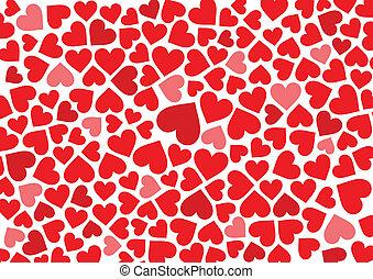 vermelho, corações, fundo, branco
