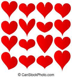 vermelho, corações, jogo