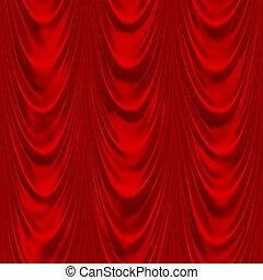 vermelho, cortinado