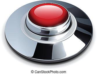vermelho, cromo, botão