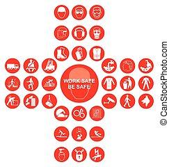 vermelho, cruciform, saúde segurança, ícone, cobrança