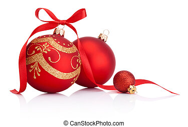 vermelho, decoração natal, baubles, com, fita, arco, isolado, branco, fundo