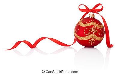 vermelho, decoração natal, bola, com, fita, arco, isolado, branco