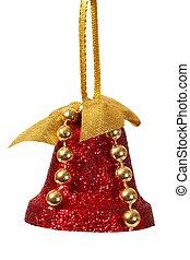 vermelho, decoração natal, sino, branca