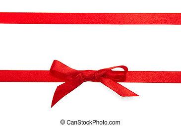vermelho, decorativo, estreito, fita