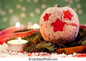 vermelho delicioso, natal, maçãs