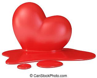 vermelho, derretendo, coração