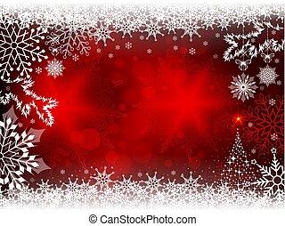 vermelho, desenho, com, snowflakes, e, um, silueta, de, um, árvore natal