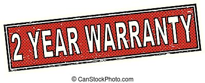 vermelho, dois, ano, garantia, selo, quadrado, grunge, sinal