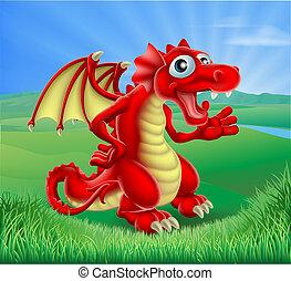 vermelho, dragão, caricatura, cena
